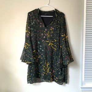 Zara Floral Shift Dress with Bell Sleeves